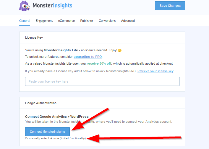 MonsterInsights connect to analytics