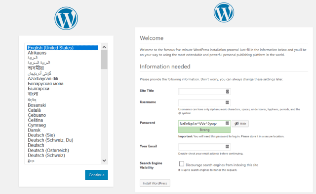 WordPress 1-click Installation Umbrella Host