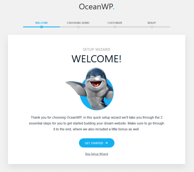 Wordpress OceanWP wizard