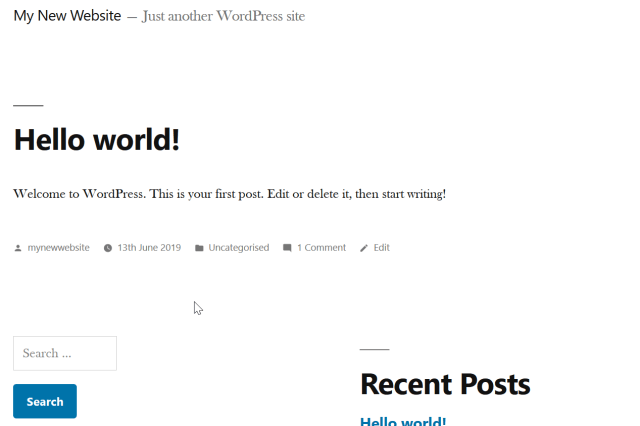 default wordpress theme installed