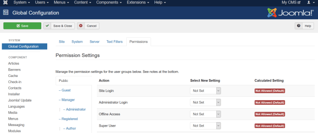 joomla security options