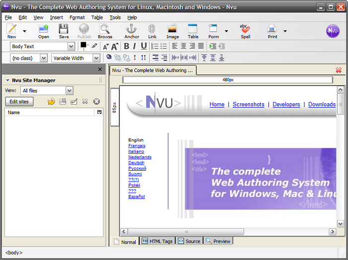 Nvu - Free Web Authoring System