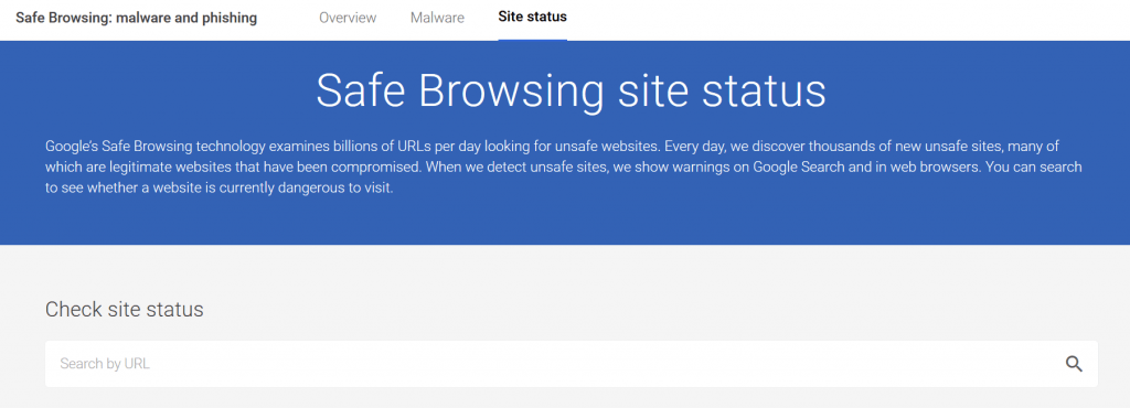 google safe browsing status