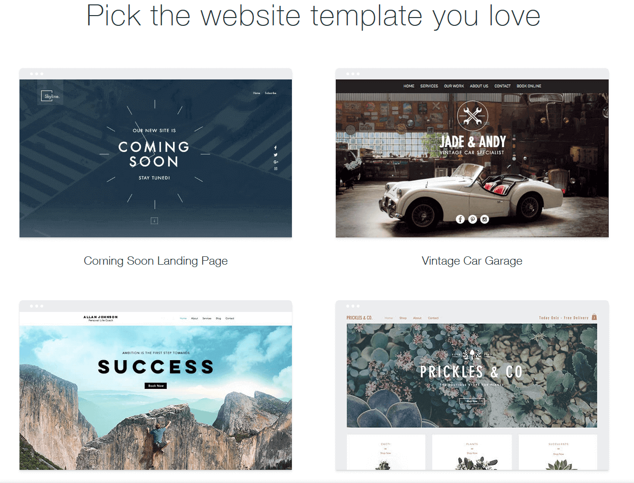 Online Website Builder Templates