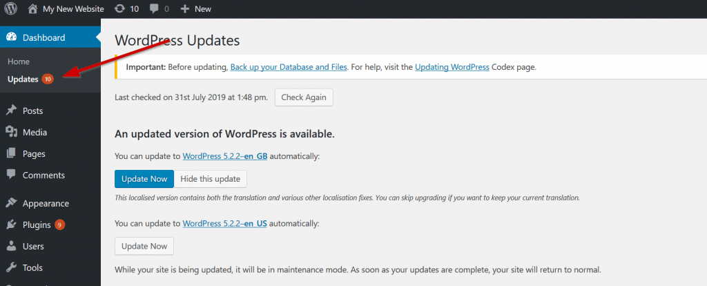 udate wordpress after a hack