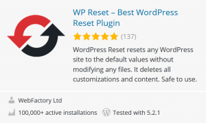 wp reset wordpress plugin